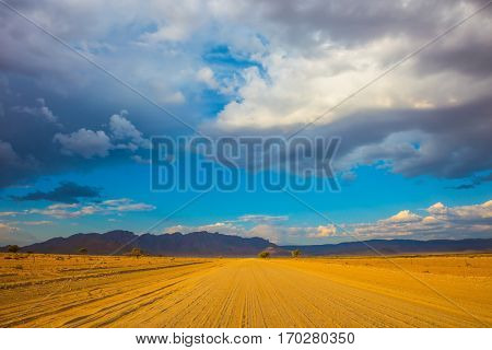 Travel to Namibia, April. The wide road in the Namib-Naukluft National Park