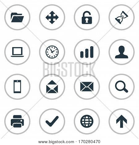 Set Of 16 Simple Apps Icons. Can Be Found Such Elements As Notebook, Dossier, Message And Other.