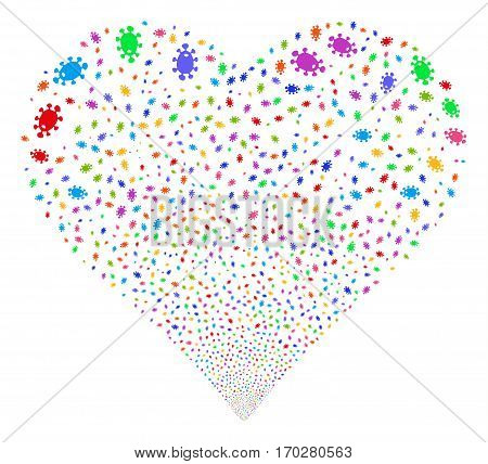 Bacteria fireworks with heart shape. Vector illustration style is flat bright multicolored iconic symbols on a white background. Object stream organized from scattered symbols.
