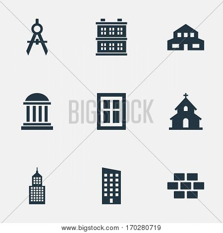 Set Of 9 Simple Structure Icons. Can Be Found Such Elements As Academy, Engineer Tool, Block And Other.