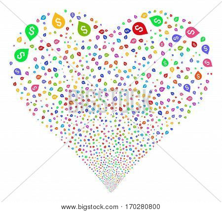 Banking Map Marker fireworks with heart shape. Vector illustration style is flat bright multicolored iconic symbols on a white background. Object heart made from confetti symbols.
