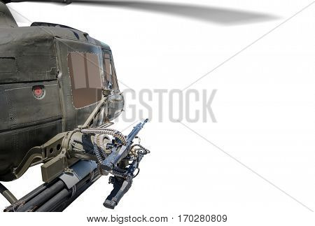 Closeup of army helicopter with machine gun.