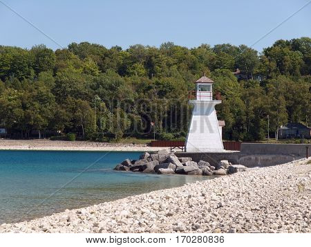 Lighthouse in Lions head on lake Huron