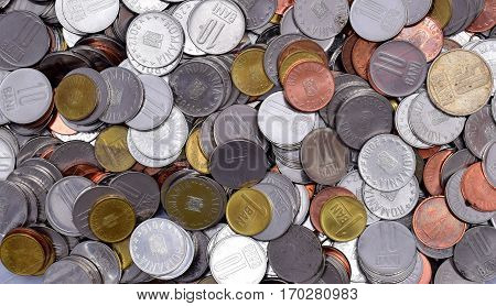 Romanian Coins lei denominations currency background texture