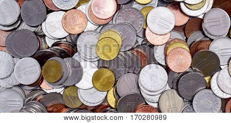 Romanian Coins denominations currency background texture