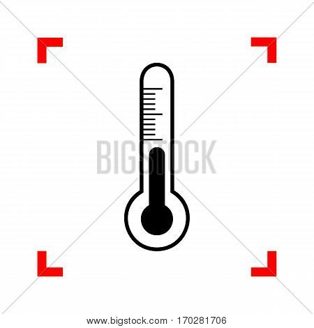 Meteo diagnostic technology thermometer sign. Black icon in focus corners on white background. Isolated.