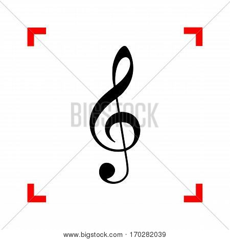 Music violin clef sign. G-clef. Treble clef. Black icon in focus corners on white background. Isolated.