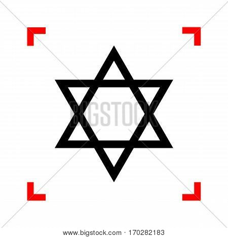 Shield Magen David Star. Symbol of Israel. Black icon in focus corners on white background. Isolated.