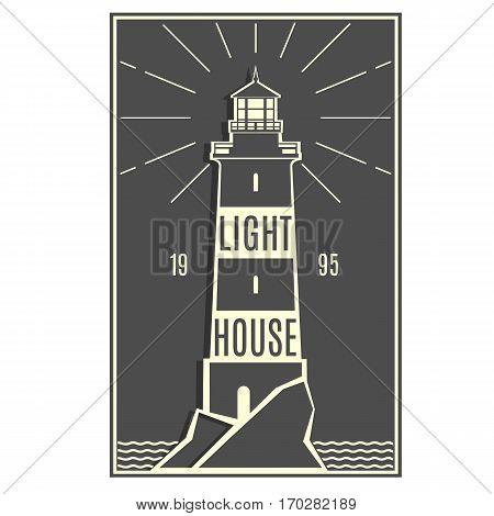 Lighthouse retro black white logo. Naval Architecture sign. Lighthouse stylish badge. Sticker, line design. Hipster style. Marine symbol. Vector illustration.