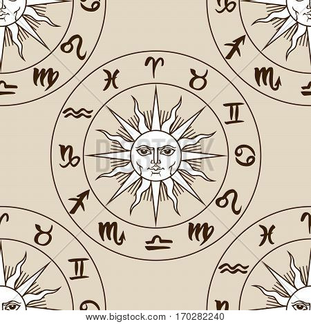 Hand drawn zodiac signs and medieval sun seamless pattern. Vector graphics astrology vintage brown background.