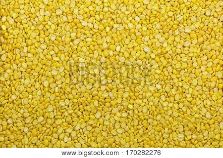 Closeup of dried Hulled and split mung bean in yellow without green skin
