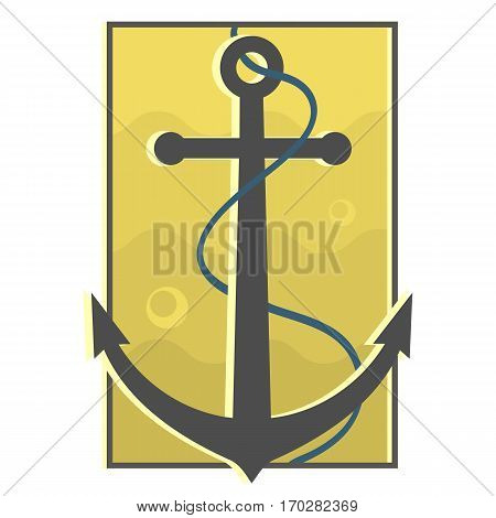 Underwater black anchor badge with cable. Blue water background. Anchor submerged in water. Vintage marine symbol. Navigation design. Vector illustration. orange logo. retro badge.
