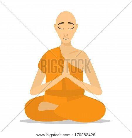 Buddhist monk meditating isolated. Cartoon design. Rraditional religious monk in orange theravada. flat vector illustration. monk person icon.