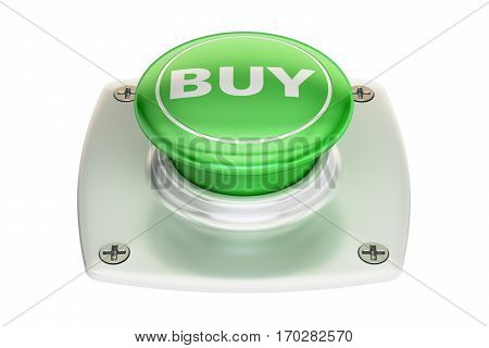 Buy green button 3D rendering isolated on white background