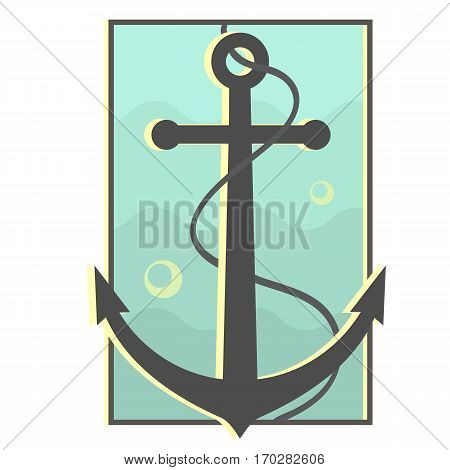 Underwater black anchor badge with cable. Blue water background. Anchor submerged in water. Vintage marine symbol. Navigation design. Vector illustration.
