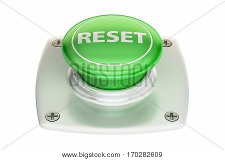 reset green button 3D rendering isolated on white background