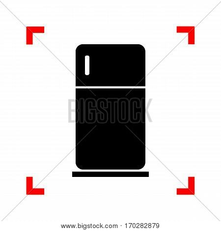 Refrigerator sign illustration. Black icon in focus corners on white background. Isolated.