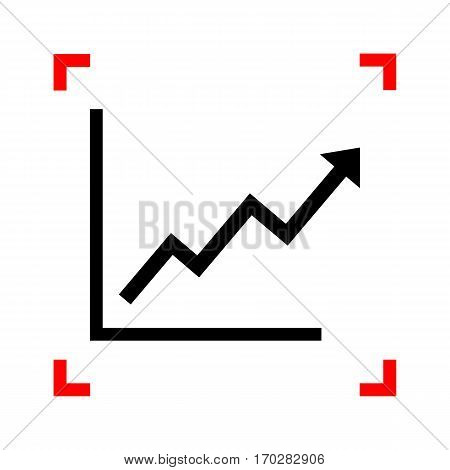 Growing bars graphic sign. Black icon in focus corners on white background. Isolated.