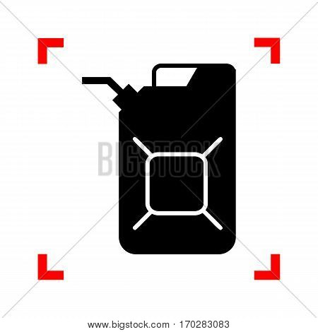 Jerrycan oil sign. Jerry can oil sign. Black icon in focus corners on white background. Isolated.