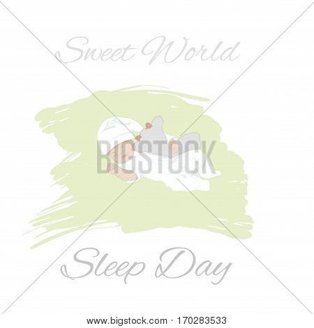 Lovely sweet newborn baby sleeping. World Sleep Day concept. Sketch, hand drawn vector illustration for for cards, banners, print.