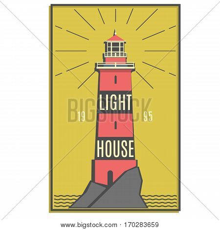 Lighthouse retro red logo. Naval Architecture sign. Lighthouse stylish badge. Sticker, line design. Hipster style. Marine symbol. Vector illustration.
