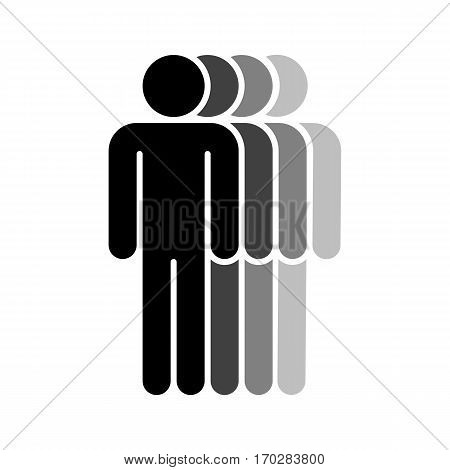 Use it in all your designs. Logotype in the form of four people standing with hands down painted in shades of black color. Quick and easy recolorable graphic element in technique vector illustration