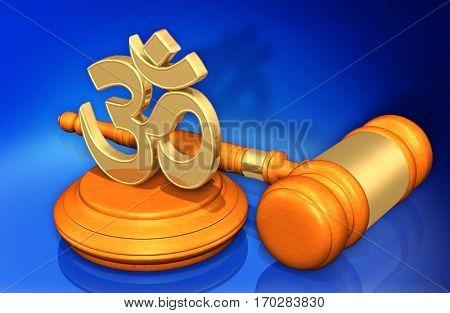 Hinduism Law Gavel Concept 3D Illustration