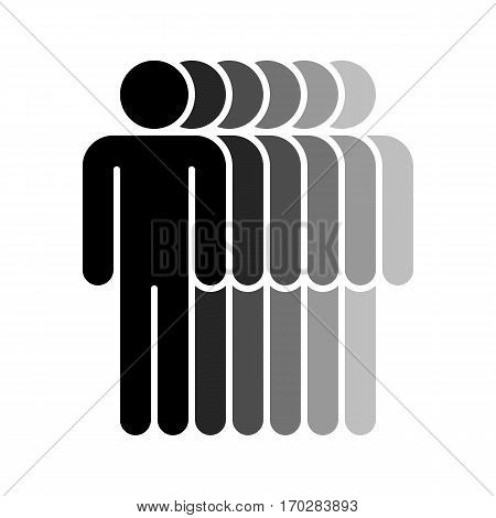 Use it in all your designs. Logotype in the form of six people standing with hands down painted in shades of black color. Quick and easy recolorable graphic element in technique vector illustration