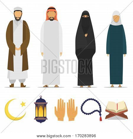 Set of Islamic religious people and ritual objects flat icon. Ramadan Kareem symbol. Muslim mullah, male and female. Islamic star and crescent, lantern, palms, Koran, beads. vector flat islam.