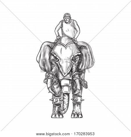 Tattoo style illustration of a war elephant with mahout rider riding viewed from front set on isolated white background.