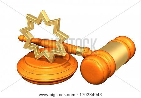 Baha'i Law Gavel Concept 3D Illustration