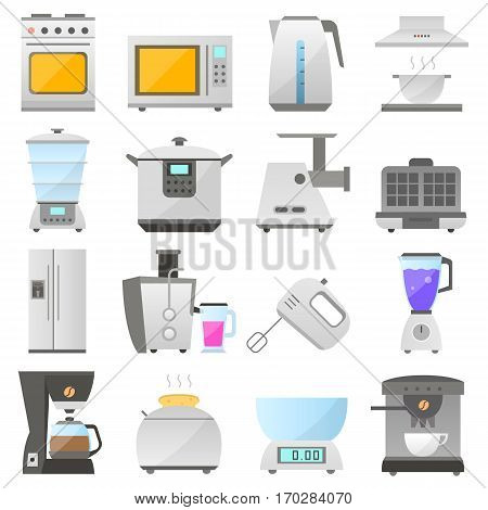 Big set of modern icon of electrical kitchen appliances isolated on white background, vector flat design appliances group. electric kitchen iron objects collection design. vector home kitchen icon.