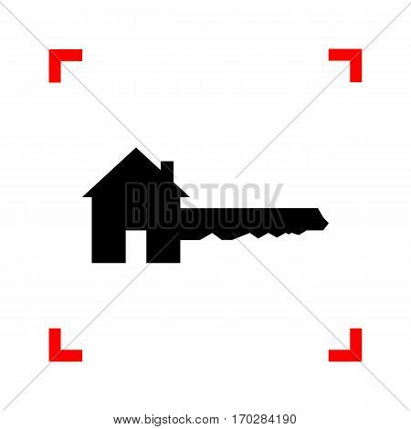 Home Key sign. Black icon in focus corners on white background. Isolated.
