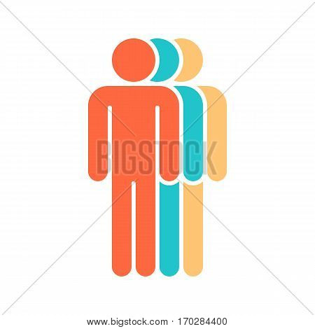 Use it in all your designs. Logotype in the form three people standing with hands down painted in red, green, yellow colors. Quick and easy recolorable graphic element in technique vector illustration