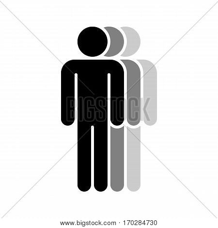 Use it in all your designs. Logotype in the form of three people standing with hands down painted in shades of black color. Quick and easy recolorable graphic element in technique vector illustration