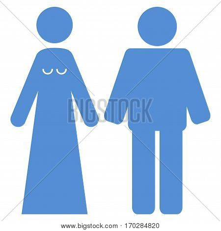 Married Groom And Bribe vector icon symbol. Flat pictogram designed with blue and isolated on a white background.