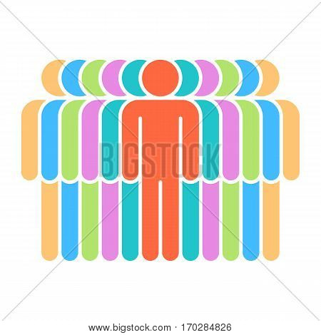 Use it in all your designs. Logotype in the form of eleven people painted in yellow, blue, green, violet, red colors. Quick and easy recolorable graphic element in technique vector illustration