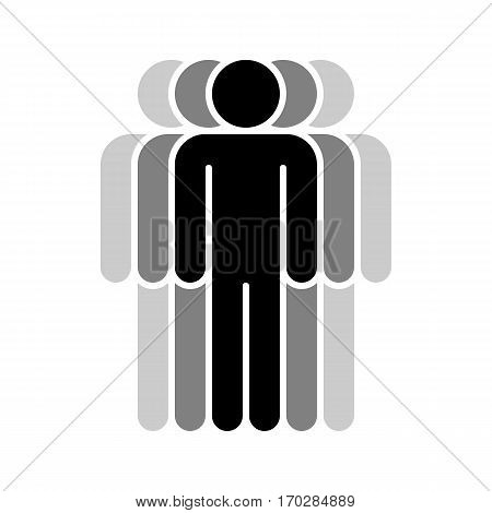 Use it in all your designs. Logotype in the form of five people standing with hands down painted in shades of black color. Quick and easy recolorable graphic element in technique vector illustration