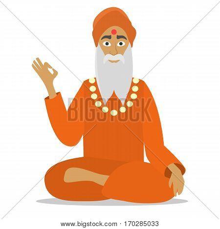Hindu monk meditating isolated. Cartoon design. flat vector illustration. monk person icon.