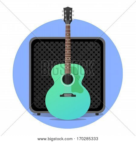 Blue electro acoustic guitar with amp illustration. round icon. vector modern flat design. rock musical instruments.