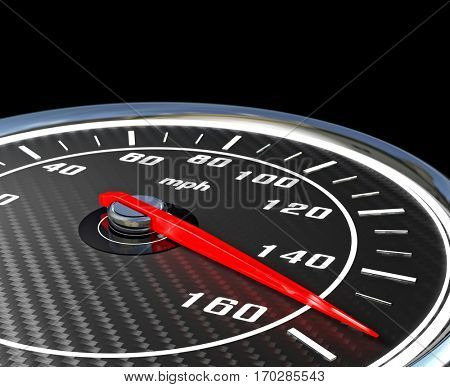 carbon fiber speedometer mph 3d rendering image