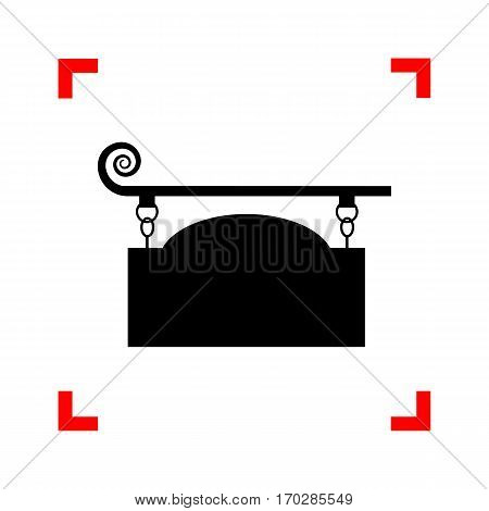 Wrought iron sign for old-fashioned design. Black icon in focus corners on white background. Isolated.