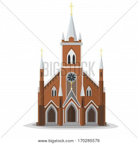 Catholic church facade. Europe architecture modern flat design. City christian architecture object illustration. Cartoon church real front.