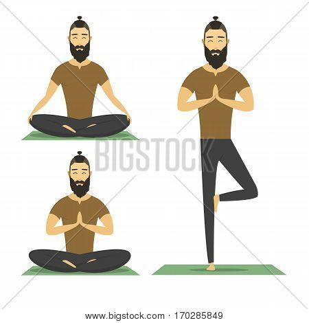 Yoga man isolated on white background. catoon yoga character, vector flat design illustration. hipster male meditation.