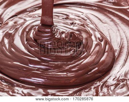 Melted chocolate or chocolate glaze. Macro.