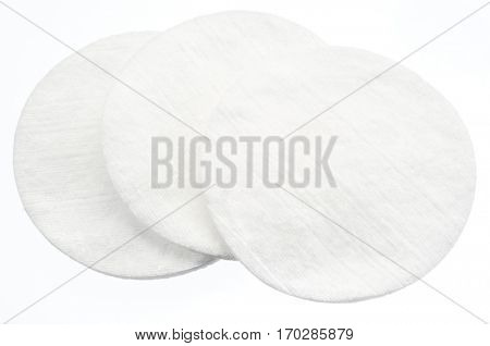 Three cotton pads. Close up picture.