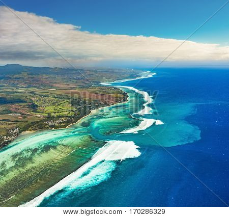 Aerial view of the underwater channel. Amazing Mauritius landscape