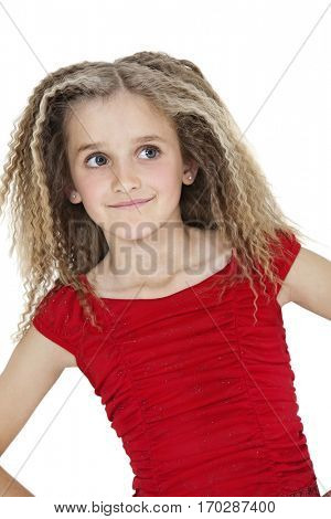 Front view of smiling girl looking sideways over white background