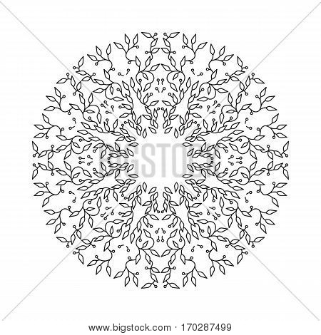 Abstract black color frame design, isolated template on white background. Circle made emblem with leaves. Spa concept monogram in linear style. Vector decoration for fashion, cosmetics, beauty industry.