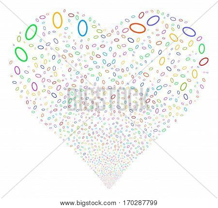Ellipse Bubble fireworks with heart shape. Vector illustration style is flat bright multicolored iconic symbols on a white background. Object love heart done from scattered design elements.